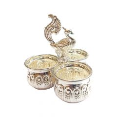 Silver Peacock Three Cup Haldi Kumkum Artifact