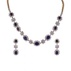 Elegant Diana Set Blue Sapphire Diamond Necklace Set-DHS-151315-DHS-151316