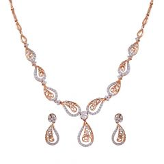 Curved Drop Filigree Sparkling Diamond Necklace Set-DHS-152414-DHS-152415