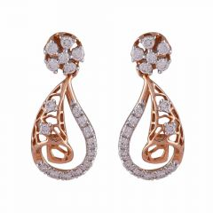 Curved Drop Filigree Sparkling Diamond Earring-DHS-152415