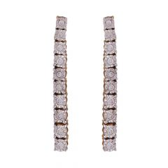 Single Line Illussion Set Sparkling Diamond Earring-DHS-211120
