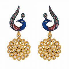 Glossy Finish Enamel Peacock Drop Floral Kundan Earring-DHS-211359