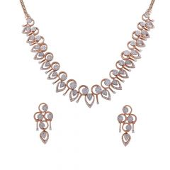 Drop Circle Pressure Pave Set Cluster Diamond Necklace Set-DHS-211557-DHS-211556
