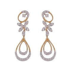 Dual Drop Sparkling Cluster Diamond Earring-DHS-211573