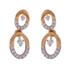Elegant Oval Circle Cluster Diamond Earring-DHS-211577