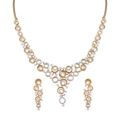 Sparkling Halo Circle Design Cluster Bridal Necklace Set-DHS-211584-DHS-211585