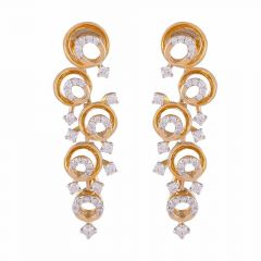Sparkling Halo Circle Design Cluster Chandelier Earring-DHS-211585