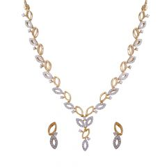 Elegant Marquise Leafy Cluster Diamond Necklace Set-DHS-211590-DHS-211591