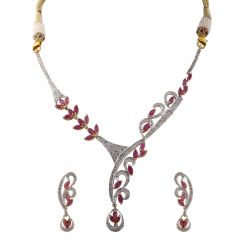 Dazzling Cluster Diamond With Marquise Cut Ruby Necklace Set - DHS2