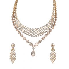 Glittering Cluster Round Brilliant Cut Drop Diamond Necklace Set - DIS129