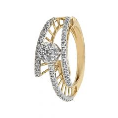 Sparkling Prong Set Twisted Design Diamond Ring