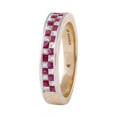 Elegant Channel Set Synthetic Ruby With Diamond Band Ring-DLR211580