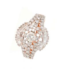 Glittering Prong Set Round With Baguette Cut Cocktail Design Diamond Ring-DLR34