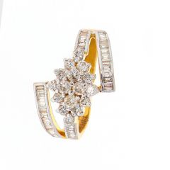 Glossy Finish Floral Design Baguette Cut Diamond Gold Ring-DLR508