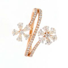 Glossy Finish Twin Floral Design Diamond Gold Ring-DLR513