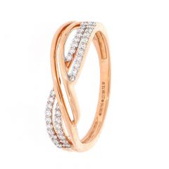 Glittering Prong Set Infinity Design Rose Gold Diamond Ring