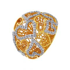 Stylish Cutout Concave Dome Heart Diamond Ring