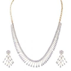Elegant Multi Drop Lines Diamond Necklace Set-DNC30-DTP6111