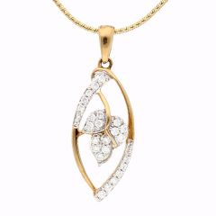 Marquise Design Drop Leafy Diamond  Pendant - DP784