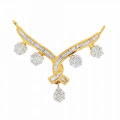 Dazzling Prong Set Baguette Cut Twisted Floral Drop Design Diamond Tanmaniya Pendant
