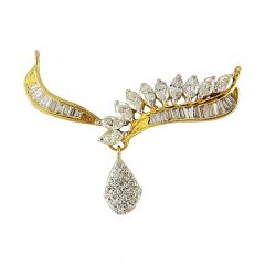Sparkling Baguette With Round And Marquise Diamond Tanmaniya Pendant - DPN0083