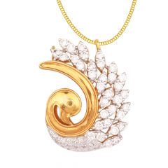 Elegant Pave Set Duck Design Cluster Diamond Pendant - DPN306128