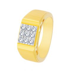 Sparkling Textured Nine Diamond Ring For Him