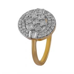 Glittering Floral Prong Bar Set Round With Baguette Cut Cluster Diamond Ring - DR124