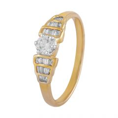 Elegant Sparkling Channel Set Baguette With Single Solo Prong Set Round Diamond Ring - DR166