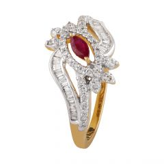 Glossy Glittering Pink Stone Channel With Pave Set Baguette With Round Diamond Ring - DR175