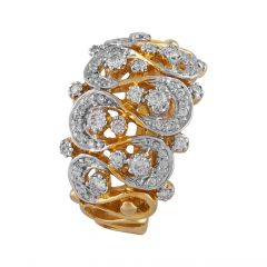 Glossy Sparkling Cluster Wave Diamond Ring - DR184