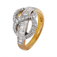 Glittering Channel Pave Set Baguette With Round Cluster Diamond Ring - DR204