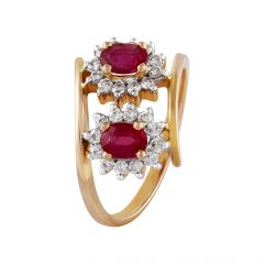 Glossy Sparkling Diana Set With Pink Stone Diamond Ring - DR211