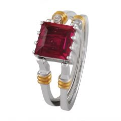 Glossy Glittering Prong Set Cluster Diamond With Prong Set Ruby Dual Side Ring - DR366