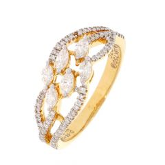 18kt Gold Curved Design Pave Prong Set Diamond Ring For Women-DRG1025