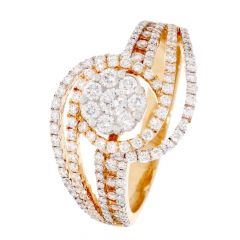 Sparkling Pave Prong Set Curved Design Diamond Ring For Women-DRG1046