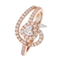 Glittering Curved Heart Design Diamond Ring For Women-DRG1050