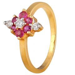 Floral Design Diamond With Ruby Ring - DRI107