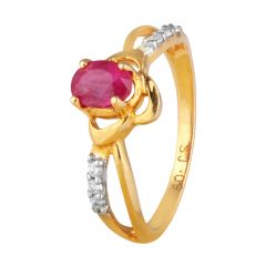 Glitering Pave Set Diamond With Prong Set Ruby Floral Ring - DRI80