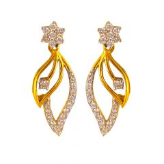 18kt Gold Floral Diamond Drop leaf Diamond Earrings- DS14