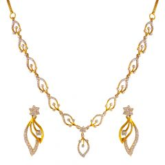 18kt Gold Floral Diamond Drop leaf Diamond Necklace - DS43