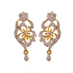 18kt Gold Floral Diamond Drop leaf Drop Diamond Earring - DS493