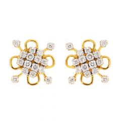 Glittering Blossom Floral Design With Prong Set Diamond Earrings-DT112
