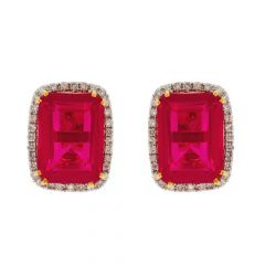 Elegant Prong Set Studded Ruby Diamond Stud Earrings-DT128