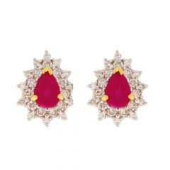 Sparkling Prong Set Drop Design Studded With Ruby Diamond Earrigns