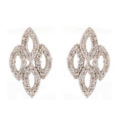 Glittering Pressure Pave Set Contemporary Design Diamond Earrings