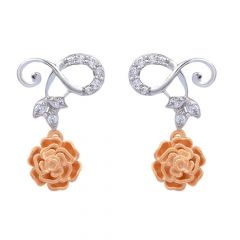 Glittering Two Tone Prong Set Curved Leafy Blossom Floral Design Gold Diamond Earrings