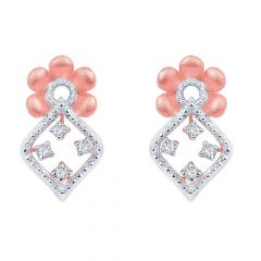 Dazzling Two Tone Prong Set Floral Drop Design Gold Diamond Earrings