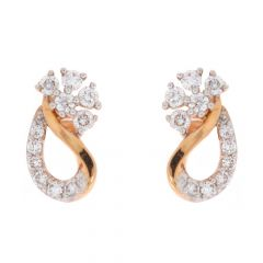 Glittering Prong Set Pear Drop Floral Design Rose Gold Stud Diamond Earrings