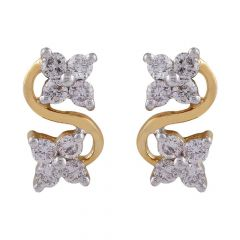 Curved Floral Design Diamond Stud Earring-DTP139
